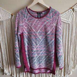Nic+Zoe Maroon Waffle Knit Pullover Sweater S